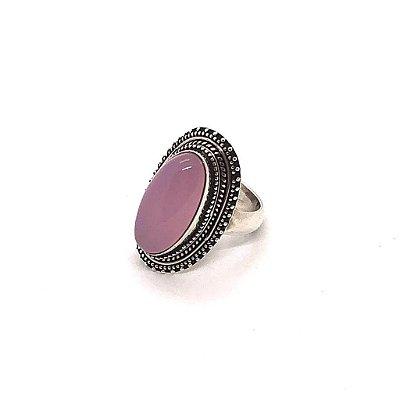 Anel quartzo rosa pedra oval lisa com prata 925 trabalhada