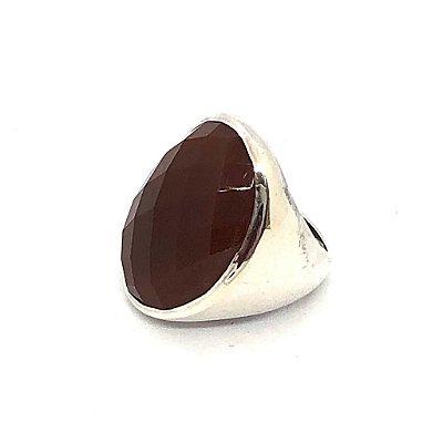 Anel cornalina oval facetada com prata 925