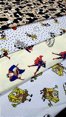 coleção malha 100%algodão personagens cortes de 1,50 metro