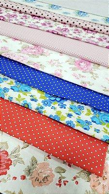 kit tricoline 100% algodão 15 cortes nas medidas de 70 cm por 30 cm