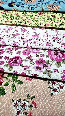 Coleção garden delicate tricoline 100%10 cortes nas metragens de 0,70cm x 0,50cm