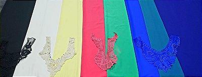 Coleção Colors Crepe cortes de 1,50 metro+ 4 palas aplicação de brinde