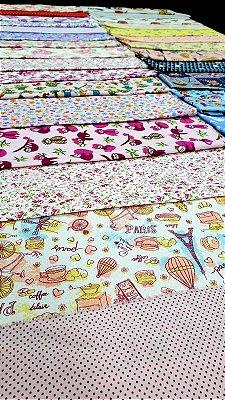 Kit Promocional tricoline 100% algodão 35 cortes nas medidas 50cmx30cm