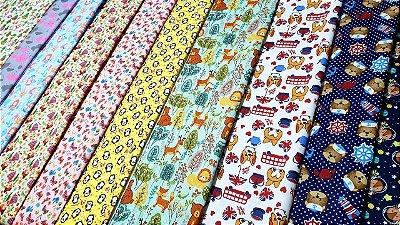 kit 10 cortes tricoline 100%algodão estampas infantil 0,50cmx 0,70 cm