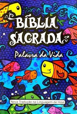 BÍBLIA SAGRADA PALAVRA DA VIDA - CAPA PEIXE / AZUL