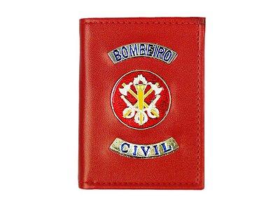 Carteira com Brasão Bombeiro Civil Vermelha (5 Unidades)