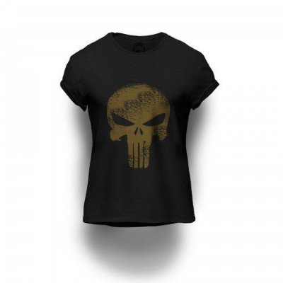 Camiseta Estampada Dourada Punisher