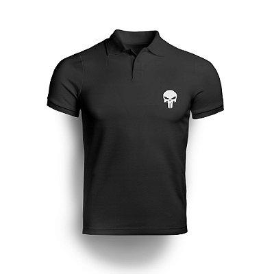 Camisa Gola Polo Punisher - Preto