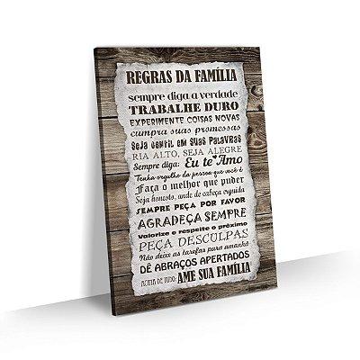 Quadro Frases Regras da Família Decoração