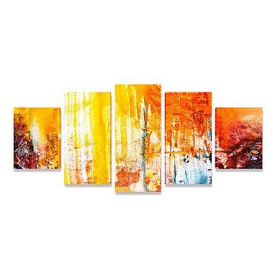 Quadro Abstrato Grande Alegria Sala Quarto Escritório 5 peças