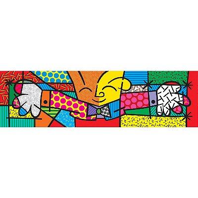Quadro Romero Britto - Releitura O Abraço - 100x25cm