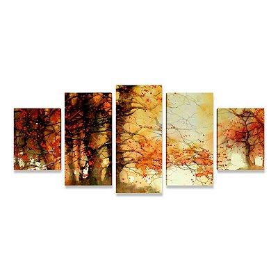 Quadro Abstrato Grande Árvore Florida Sala Quarto Escritório 5 peças