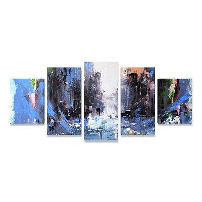 Quadro Abstrato Grande Esplendor Azul Sala Quarto Escritório 5 peças
