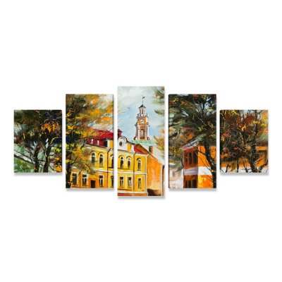 Quadro Mosaico Paisagem Igreja do Interior
