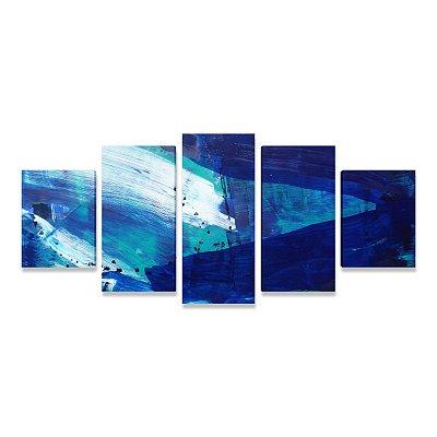 Quadro Abstrato Grande Alegria Azul Sala Quarto Escritório 5 peças
