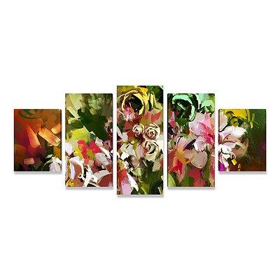 Quadro Decorativo Abstrato Primavera Flores Para Sala Quarto Escritório - Mosaico 5 peças