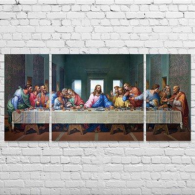 Quadro A Santa Ceia Grande - 150x70cm - Mosaico 3 peças