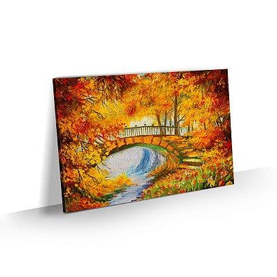 Quadro Paisagem Outono com Ponte