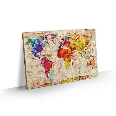 Quadro Mapa Mundi Colorido Estilo Rústico - Modelo 02