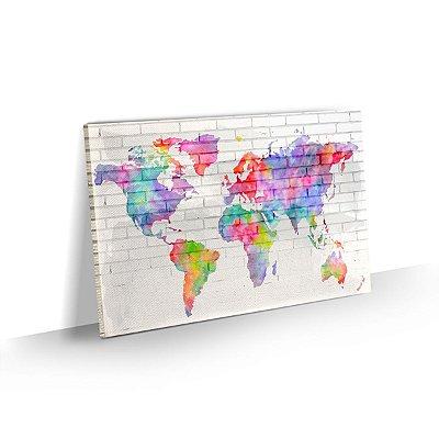 Quadro Mapa Mundi Colorido Estilo Aquarela - Modelo 04