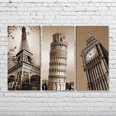 Kit de Quadros - Paris, Itália e Londres - 3 peças