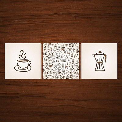 Kit de Quadros Para Cozinha Área Gourmet Café I Love Coffee