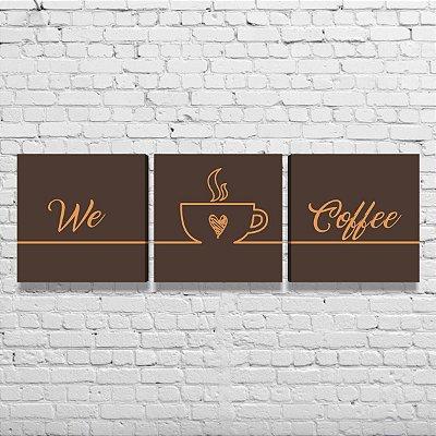 Kit de Quadros Para Cozinha Área Gourmet Café We Love Coffee