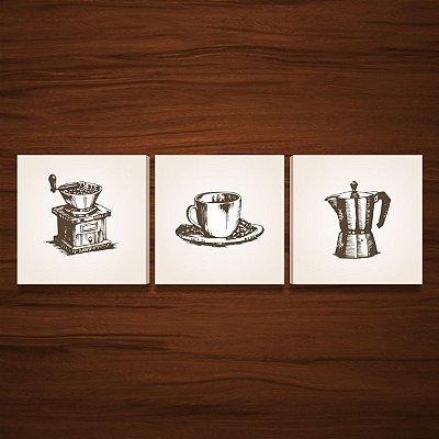 Kit de Quadros Para Cozinha Área Gourmet Detalhes do Café