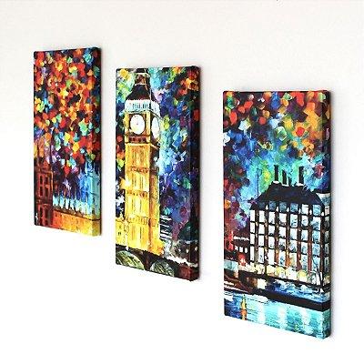 Kit de Quadros - Big Ben em Londres Abstrato - 3 peças