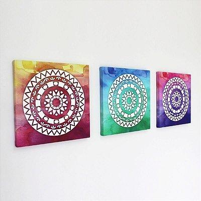 Kit de Quadros - Mandalas Coloridas  - 3 peças