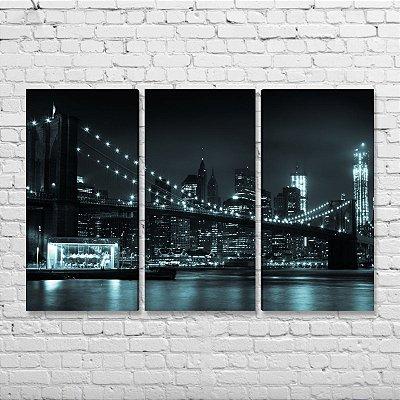 Quadro Nova York Ponte Brooklyn Manhattan Mosaico 3 peças