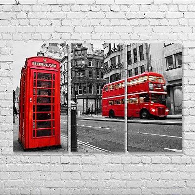 Quadro Londres Cabine Telefônica Ônibus Mosaico 3 peças