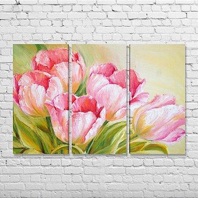 Quadro Decorativo Flores Tulipas Mosaico 3 peças
