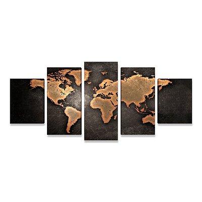 Quadro Mapa Mundi Preto 5 Peças Grande para Sala Quarto Escritório