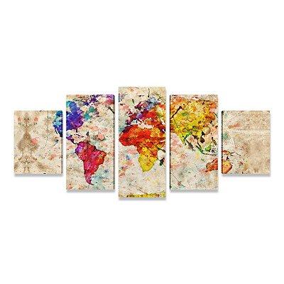 Quadro Mapa Mundi Cores 5 Peças Grande para Sala Quarto Escritório