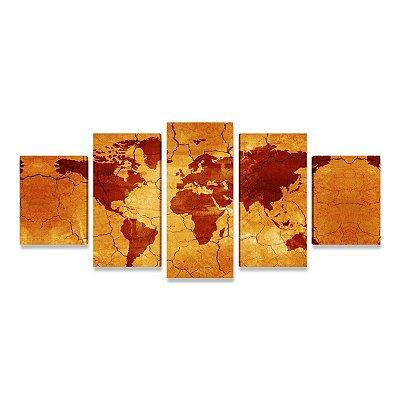 Quadro Mapa Mundi Envelhecido 5 Peças Grande para Sala Quarto Escritório