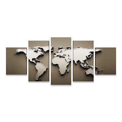 Quadro Mapa Mundi Estilo Metal 5 Peças Grande para Sala Quarto Escritório