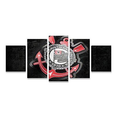Quadro Time Corinthians Símbolo Grande 5 telas Sala Quarto 03
