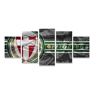 Quadro Time Palmeiras Palestra Grande 5 telas Sala Quarto 01