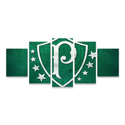 Quadro Time Palmeiras Retrô Grande 5 telas Sala Quarto 02