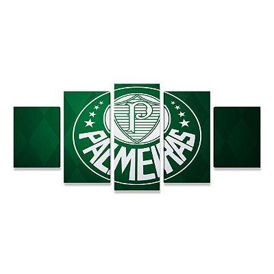 Quadro Time Palmeiras Símbolo Grande 5 telas Sala Quarto 03