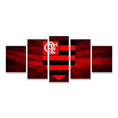 Quadro Time Flamengo Símbolo Grande 5 telas Sala Quarto 01