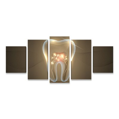 Quadro Consultório Odontológico Dentista Estilizado 5 peças