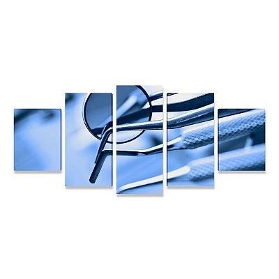 Quadro Consultório Odontológico Dentista Instrumentos - 5 telas
