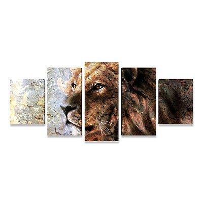 Quadro Decorativo Leão Paisagem Para Sala - Mosaico 5 telas