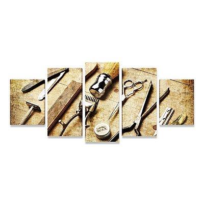Quadro Utensílios de Barbearia - Mosaico 5 Telas
