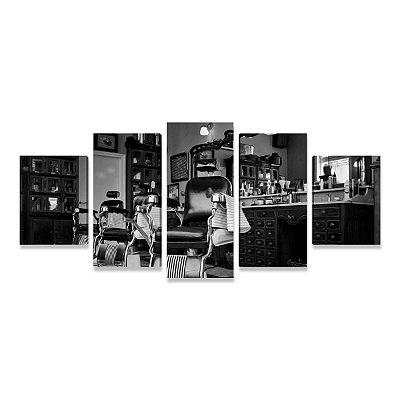 Quadro Decoração Barbearia Vintage - Mosaico 5 Telas