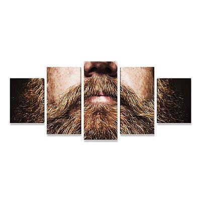 Quadro Decoração Barbearia Barba Ruiva - Mosaico 5 Telas