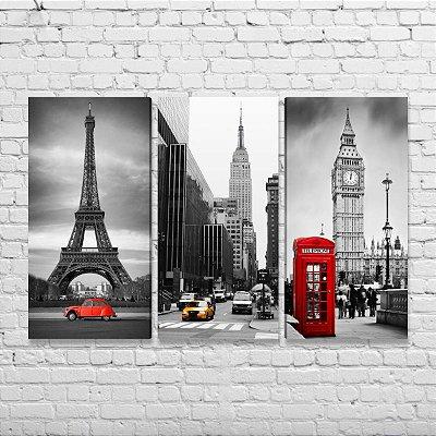 Quadros Paris Nova York Londres - Kit 3 Quadros