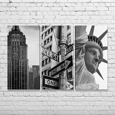 Quadros Detalhes Cidade Nova York - Kit 3 Quadros